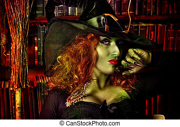 black girl - Close-up portrait of a fairy wicked witch in...