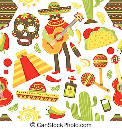 Mexico seamless pattern with travel traditional music latino...