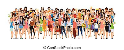 Group of woman - Large group crowd of different age women...