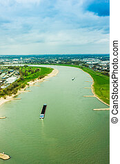 Wide angle picture of river Rhine, Duesseldorf Seen from the...