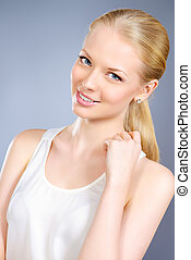 pretty smile - Portrait of a beautiful young woman with...