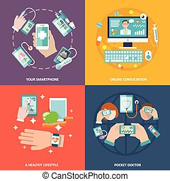 Digital health icons set flat - Digital health your...