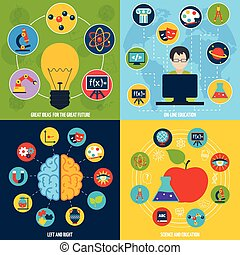 Science education set - Science flat icons education set...