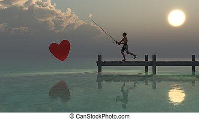 fishing - man fishing in the sea