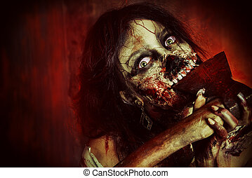 devilish woman - Scary bloody zombie girl with an ax....