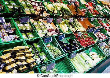 market vegetables. Vegetables Displayed on a Market Stall -...
