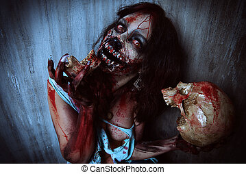 gnaw bones - Frightening bloody zombie girl with a skull....