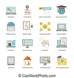 Online education icon set - Online education icons set with...
