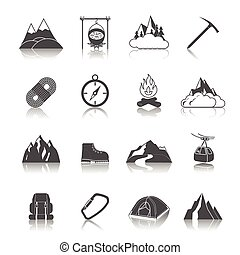 Mountain icons black set with peak campfire axe rope...