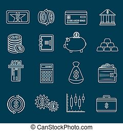 Money finance icons outline - Bank service money outline...