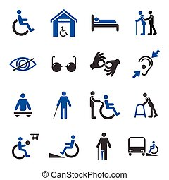 Disabled icons set - Disabled people care help assistance...