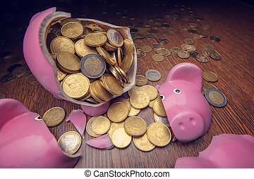 pig - cracked pink pig moneybox closeup