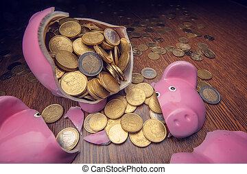pig - cracked pink pig moneybox closeup