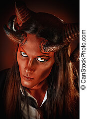 red devil - Portrait of a devil with horns. Fantasy. Art...