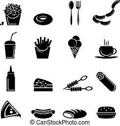 Fast Food Icons - Fast food icons black set of popcorn...