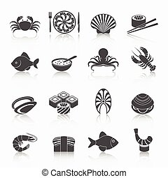 Seafood icons set black - Seafood fish menu restaurant icons...