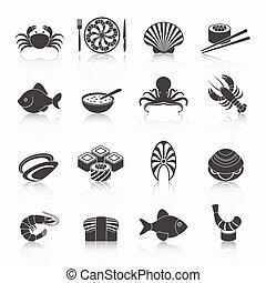 mariscos, iconos, Conjunto, negro,