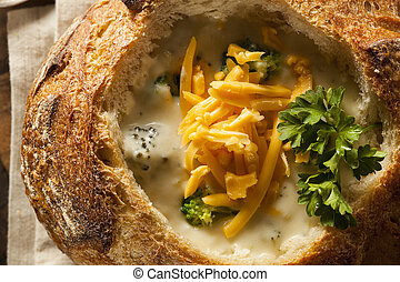 Homemade Broccoli and Cheddar Soup in a Bread Bowl