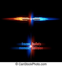 Bullets collision - Frozen moment of two bullets collision...
