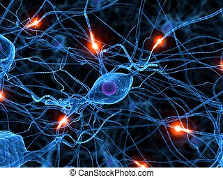 active nerve cell - 3d rendered illustration of active nerve...