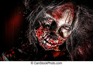 zombie eyes - Close-up portrait of a scary bloody zombie...