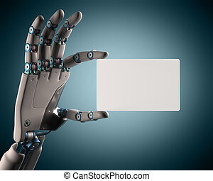 Blank Card Robot - Robotic hand holding a blank card. Your...