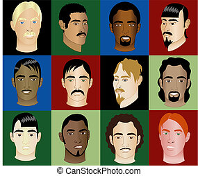 12 Men Faces 2 - Twelve Men\'s Faces of different races and...