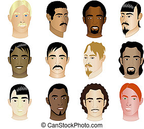12 Men Faces 1 - Twelve Men\'s Faces of different races and...
