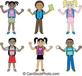 School Kids with Backpacks - Big Kids Set