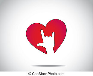 red love or heart shape icon with an i love you hand gesture symbol art with bright white background - abstract concept valentine's day greeting card art