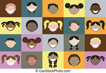 20 Kids Faces - Children from all around the world sharing,...