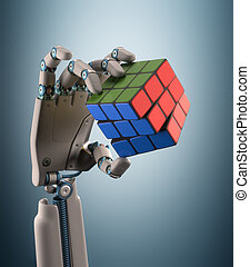 Cube Robot - Robotic hand holding a colorful cube. Clipping...