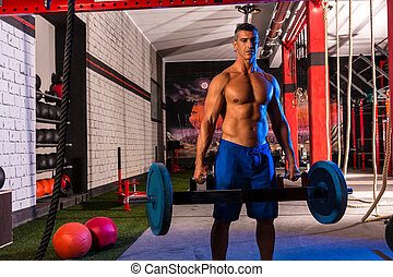 Hex Dead Lift Shrug Bar Deadlifts man at gym workout...