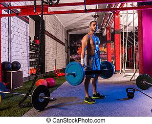 Hex Dead Lift Shrug Bar Deadlifts man at gym workout...