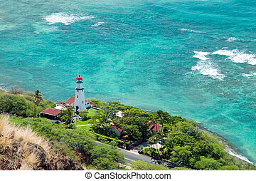Aerial view of Diamond head lighthouse with azure ocean in backg