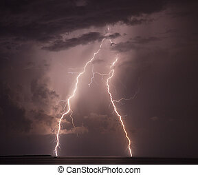 Lightning strike - Double lightning strike hits the water in...