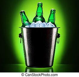 garrafas, Cerveja, balde, gelo