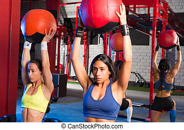 Gym women weighted ball workout exercise - Gym women...