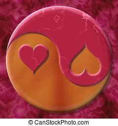 Yin yang hearts - Yin yang symbol with hearts made by mixed...