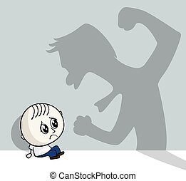 child abuse - illustration of child abuse with little child...