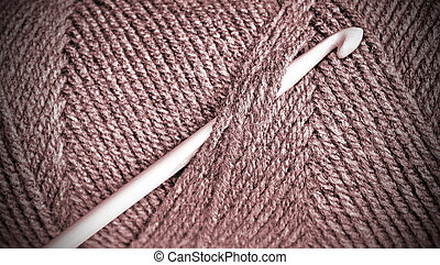 Wool - Skein of yarn in soft shade of plum - vignette border...