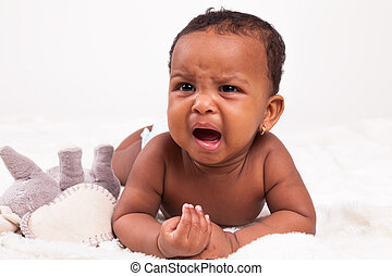 Little african american baby girl crying - Black People -...