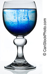 Contaminated water - Red wine glass fill with water and a...