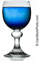Blue drink - Red wine glass fill with a blue liquid