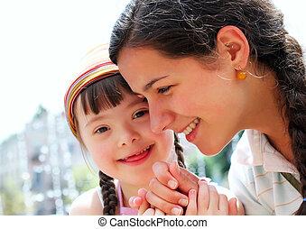 famiglia, momenti, bambino, -, possedere, madre,...