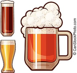 Vector beer - Three beer glasses isolated on white. Eps8....