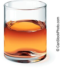 Whiskey - A highball glass of whiskey isolated on white. One...