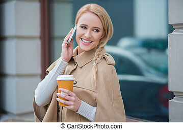 Attractive woman taking a call on her mobile