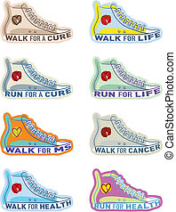 Shoe illustrations for various charities - Running shoe...
