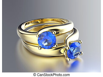 Ring with sapphire - Golden Engagement Ring with Diamond...